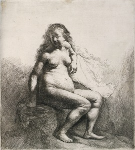Rembrandt_Naked_Woman_Seated_on_a_Mound_1631